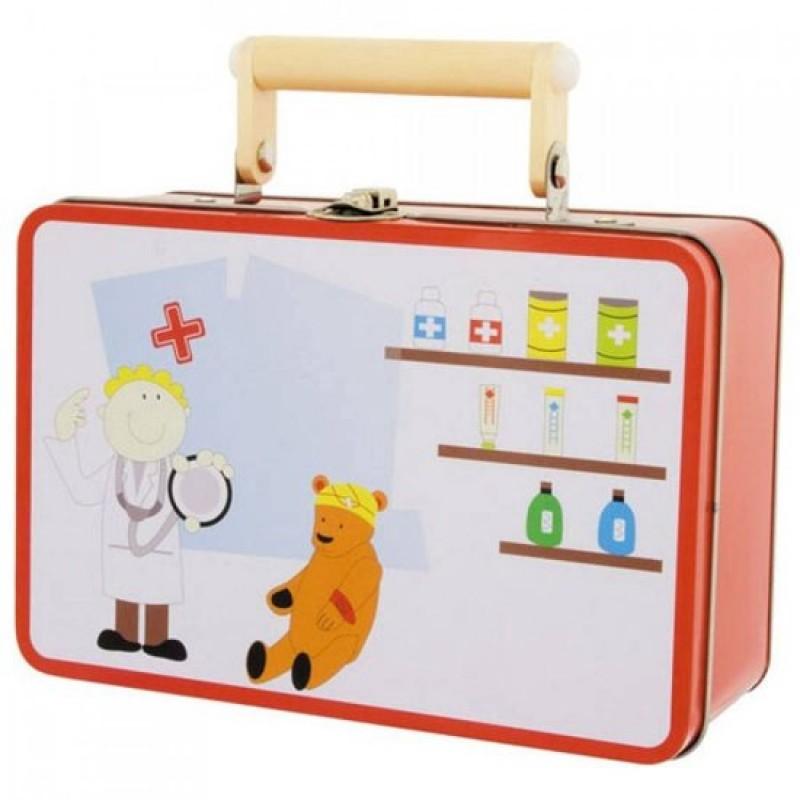 Dokterskoffer met houten dokters accessoires - speelgoeddoktersset