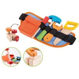 Gereedschapsriem met houten gereedschap - 9 delig Jouéco speelgoedgereedschapsset