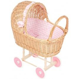 Poppenwagen rieten kap met roze ruit