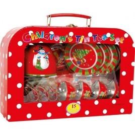 Tinnen servies kerst in picknickkoffer