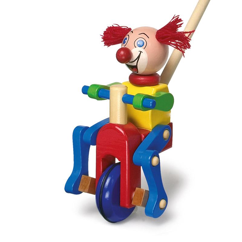 Houten duwstok Clown - duwfiguur