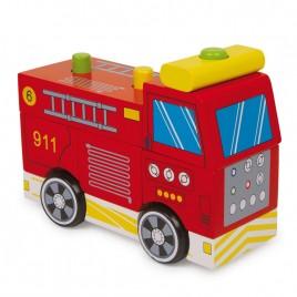 Houten brandweerwagen - 7-delig